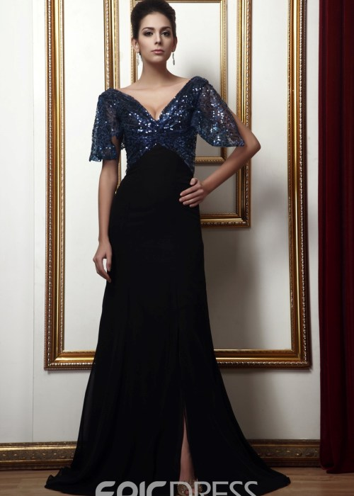 Glamorous Sequins Sheath Column Short-Sleeves Mother of the Bride Dress