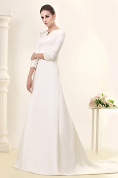 Glorious 3-4-Length Sleeve Bateau A-line Court Wedding Dress
