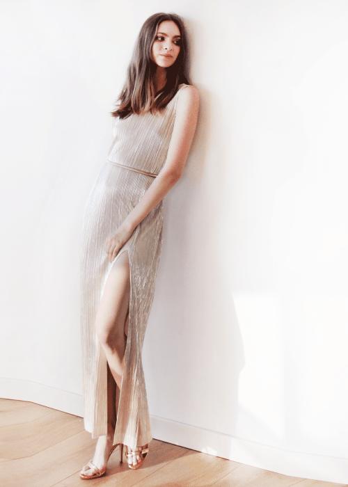 Gold Glamorous Metallic pleated maxi dress 1073
