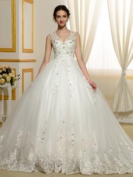 Gorgeous Appliques Beading Sheer Back Wedding Dress