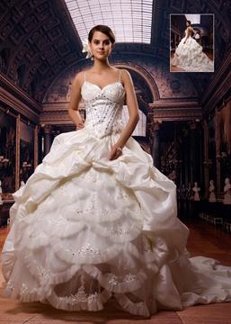 Gorgeous Ball Gown Spaghetti Straps Floor-Length Chapel Wedding Dress