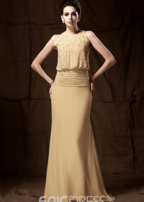 Gorgeous Trumpet Mermaid Floor-length Round Neckline Beaded Mother of the Bride Dress