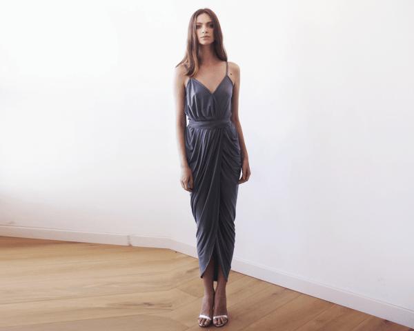Grey Wrap maxi dress 1033