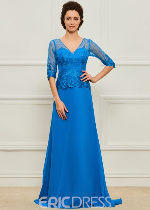 Half Sleeves A Line Long Mother of the Bride Dress