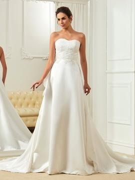 High Quality Appliques Sweetheart Court Train A Line Wedding Dress