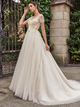 High Quality Beaded Scoop A Line Wedding Dress