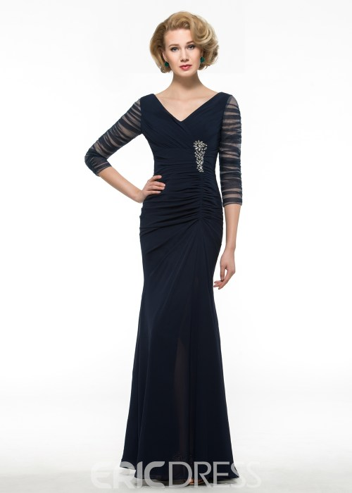 High Quality V Neck Long Mother Of The Bride Dress