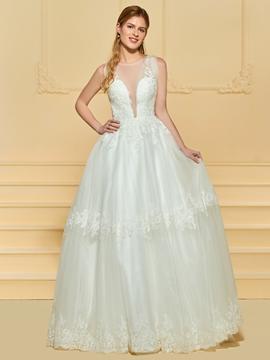 Illusion Neckline A Line Tulle Wedding Dress