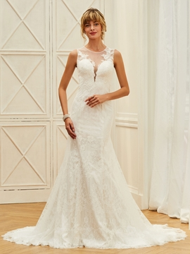 Illusion Neckline Lace Mermaid Button Wedding Dress