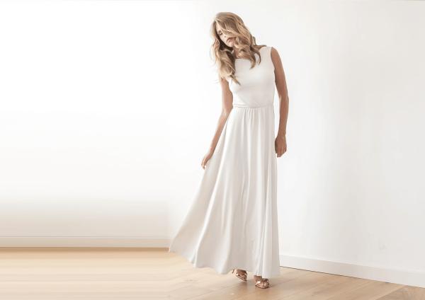 Ivory Backless wedding maxi dress 1062