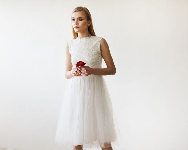 Ivory Lace And Tulle Sleeveless Midi Dress 1159