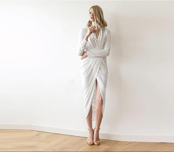 Ivory Long Sleeve Tulip Wrap Wedding Maxi Dress SALE 1034