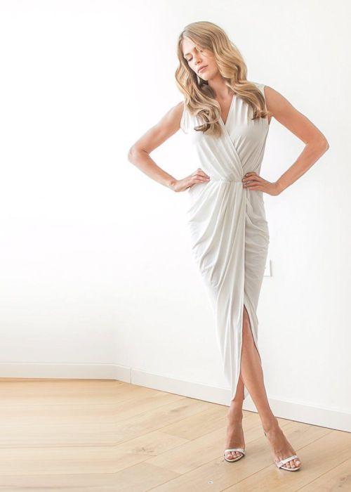 Ivory Sleeveless Tulip Wrap Wedding Dress 1055