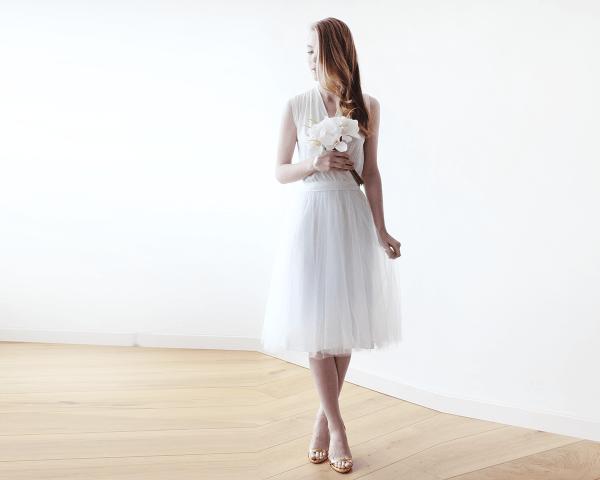 Ivory Sleeveless Tulle Midi Dress SALE 1081