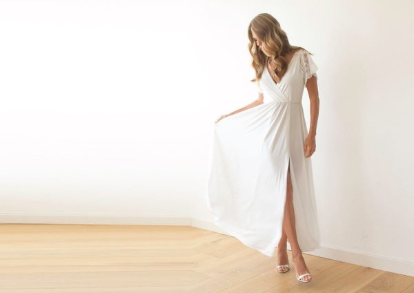 Ivory Wrap Wedding Dress with short lace sleeves 1052