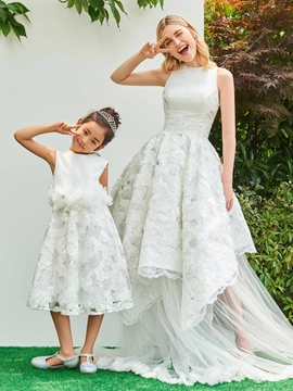 Jewel Ball Gown Appliques Asymmetry Wedding Dress