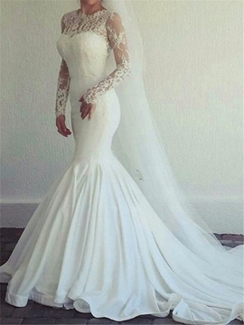 Jewel Long Sleeves Mermaid Lace Wedding Dress