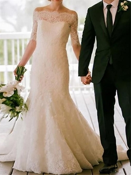 Lace Mermaid Half Sleeves Off The Shoulder Wedding Dress