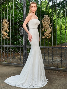 Lace Mermaid Strapless Beaded Wedding Dress