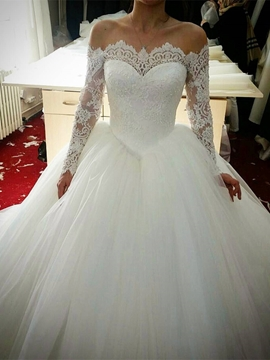 Lace Off The Shoulder Ball Gown Long Sleeves Wedding Dress