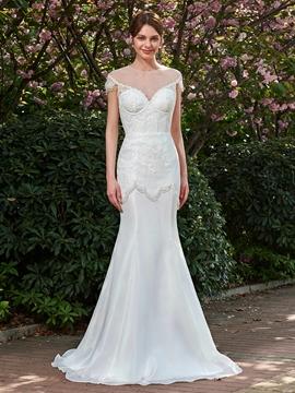 Lace Scoop Cap Sleeves Wedding Dress Floor Length