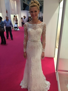 Lace Sheath Long Sleeves Beaded Wedding Dress