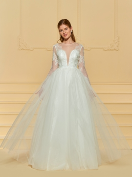 Long Sleeves A Line Tulle Wedding Dress
