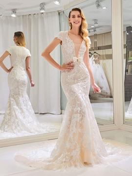 Mermaid Lace Color Cap Sleeves Wedding Dress