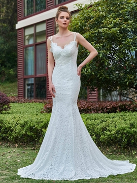 Mermaid Lace Spaghetti Straps Backless Wedding Dress