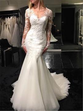 Mermaid Long Sleeves Backless V Neck Appliques Wedding Dress
