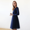 Navy Blue Tulle Midi Dress with long sleeves 1068