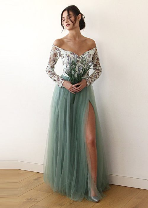 a7c7ea36c667 Off-Shoulder Floral And Green Tulle Dress With A Slit 1176