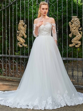 Off The Shoulder Half Sleeves Appliques Wedding Dress