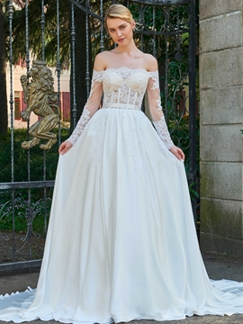 Off The Shoulder Long Sleeves A Line Wedding Dress