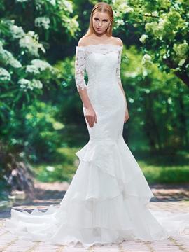 Off The Shoulder Mermaid Wedding Dress With Sleeves