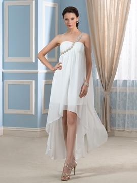 One Shoulder High Low Wedding Dress