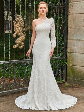 One Shoulder Lace Mermaid Long Sleeves Wedding Dress
