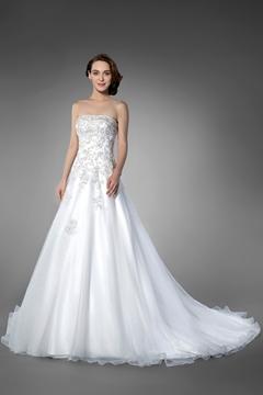 Perfect Strapless Beading Chapel Train Sleeveless A-line Wedding Dress