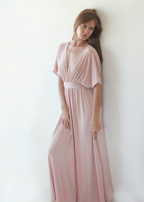 Pink Blush Batwing Sleeve Bridesmaids Maxi Dress 1002