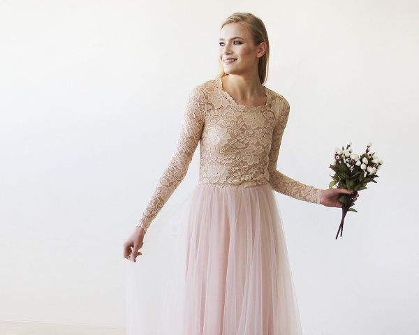 Pink Blush Round Neck-Line Long Sleeves Sheer Lace and Tulle 1152