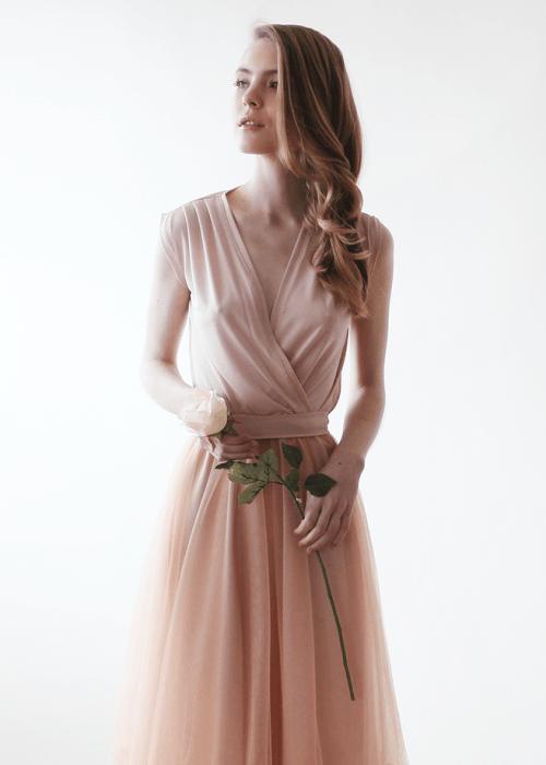 Pink Sleeveless Tulle Maxi Dress 1076