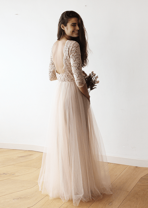 Pink Tulle and Lace Maxi Gown 1122
