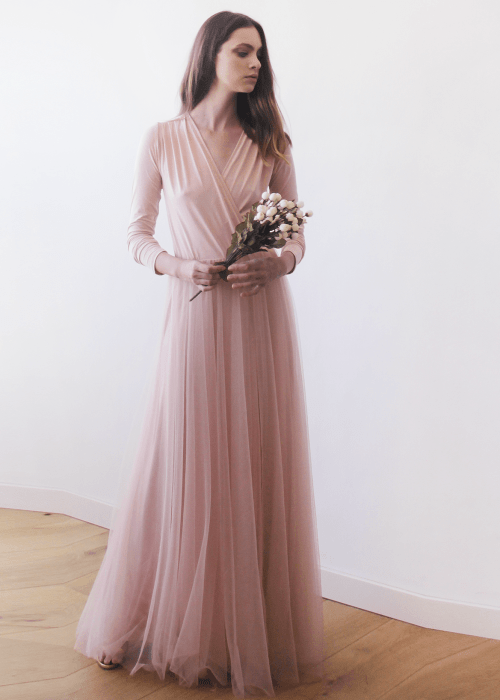 Pink blush maxi tulle dress with long sleeves 1066