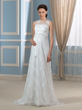 Pretty Jewel Sweep Train Lace Maternity Wedding Dress
