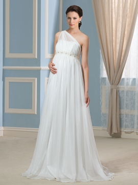 Pretty One Shoulder Beading Maternity Wedding Dress