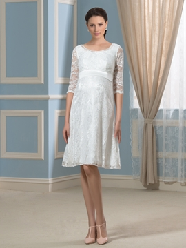 Pretty Scoop Knee Length Lace Maternity Dress