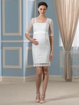 Pretty Square Neckline Half Sleeves Lace Short Maternity Wedding Dress