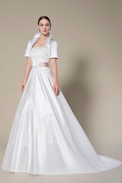 Pretty Strapless Beading Zipper-Up Sweep Train A-Line Wedding Dress With Jacket-Shawl
