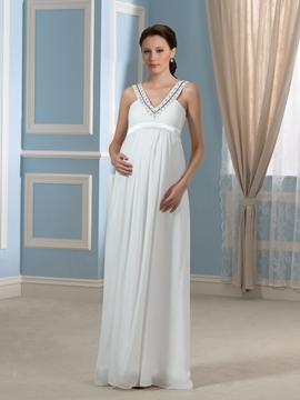 Pretty V Neck Beading Chiffon Maternity Wedding Dress