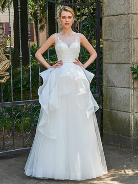 Scoop A Line Beaded Backless Tulle Wedding Dress
